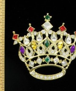 ac2df6d42 Vintage Large Diamond Ruby Emerald Citrine Amethyst Ruby Crown Brooch Pin  Designer Jewelry, Prom Pageant