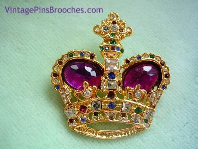 86e0f3cb7 Vintage Purple Amethyst Diamond Emerald Amethyst Rhinestone Crown Brooch Pin  Jewelry, Prom Princess Royal Queen