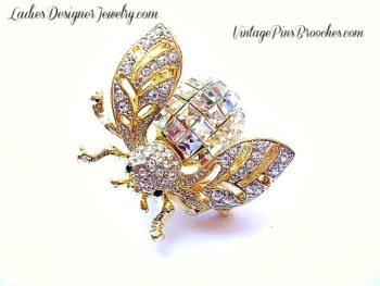 8eee228ed2e00 Vintage Crystal Diamond Gold Plate Rhinestone Bumble Bee Designer Pin  Brooch For Women, Baguette Emerald Cut Rhinestone Pins Brooches Jewelry Bees