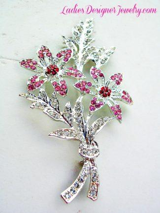 Vintage Rhinestone Crystal Wedding Bridal Bouquet Flower Brooch Pin