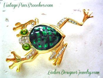 699ad6651 Vintage Green Enamel Pave Rhinestone Frog Brooch Pin Frogs, Ladies Designer  Jewelry