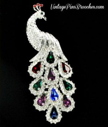 458385dd4 Vintage Pave Diamond Ruby Emerald Sapphire Amethyst Rhinestone Peacock Pin  Brooch, Peacocks Ladies Designer Jewelry