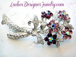 8ed6d8d84a17d Aurora Borealis Iridescent Purple Amethyst Crystal Rhinestone Flower Pin  Brooch Bouquet, Floral Designer Brooches Pins Ladies