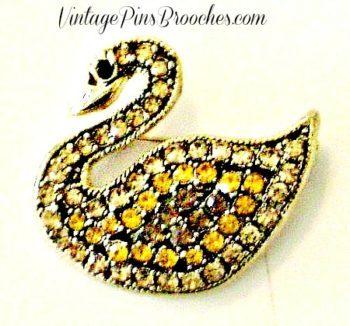 82bdf648bcb Vintage Smoke Topaz Chaton Rhinestone Swan Pin Brooch, Swans Birds Animals  Ladies Designer Jewelry – Rhinestone Brooches, www.rhinestonebrooches.com .