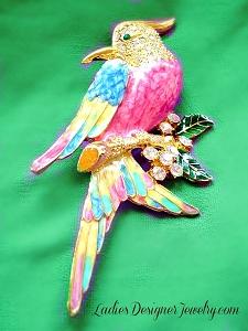 d5f1044b5 Large Bird Pave Rhinestone Pink Enamel Pin Figural Vintage Broach ...